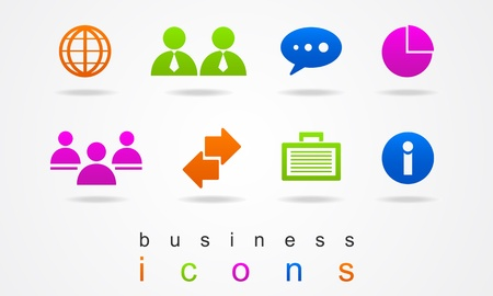 business icons multicolored Stock Vector - 20007764