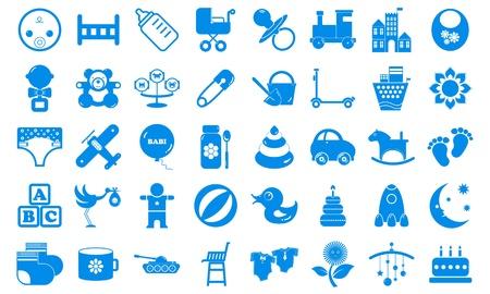 toy ducks: Establecer iconos infantiles tonos azules Vectores
