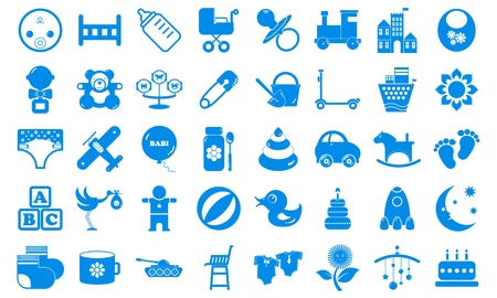 Set child icons blue tones Vector
