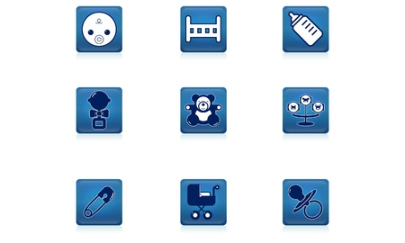 Set of children s icon blue Stock Vector - 20913024