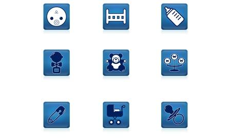 Set of children s icon blue Stock Vector - 20913024