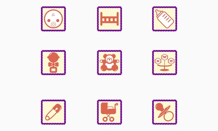 Set of children s icons Stock Vector - 20913056