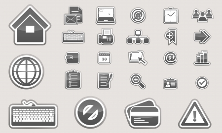 Set of glossy business icons black and white Vector