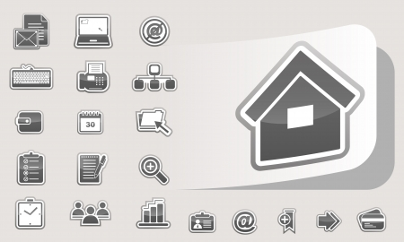 Set glossy business icons Vector