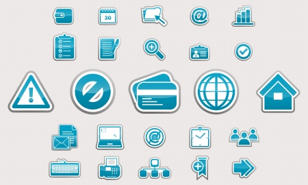 Set of glossy business icons blue Vector