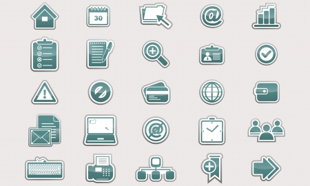 set of glossy business icons Vector