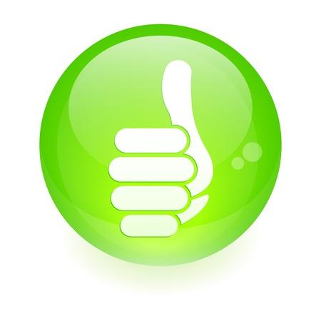 big toe: sphere thumb up icon green Illustration