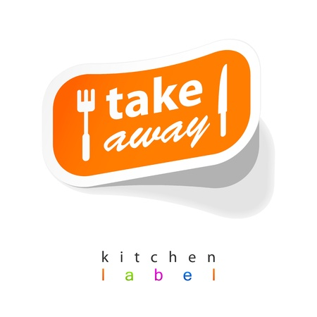 Takeaway labels sticker Stock Vector - 21298440
