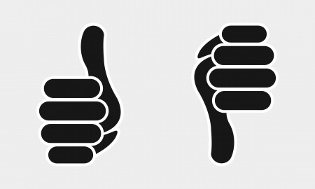 up and down: wrist your thumb, yes or no icon