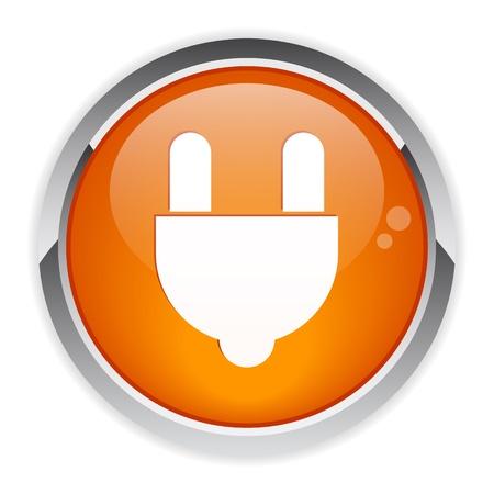 plugins: bouton internet prise electric power icon Illustration