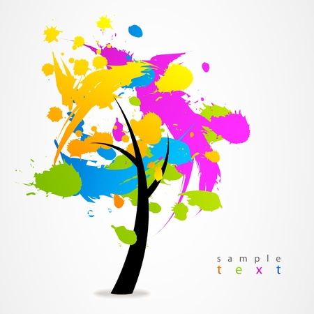 Business sign colorful tree Stock Vector - 21317227