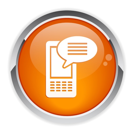 button Internet phone message icon Vector