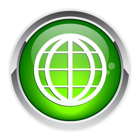 button internet world planet icon Vector