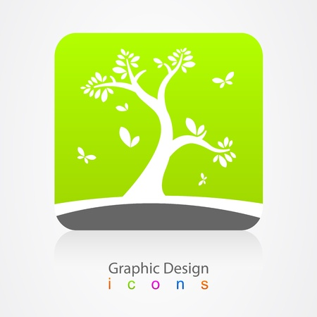 graphic design business sign tree Vector