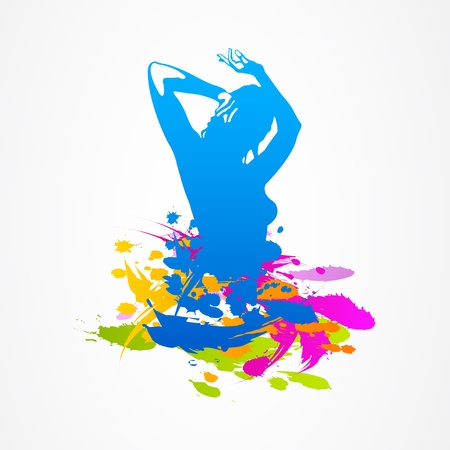 beautiful dancing girl bright colors Vector