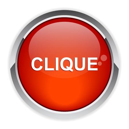 clic: bouton internet clic icon red