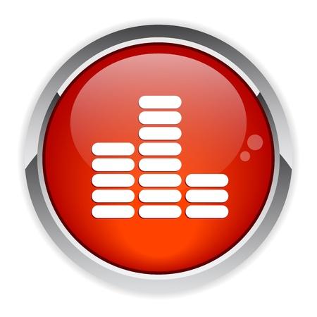 musique: bouton internet equalizer musique icon red