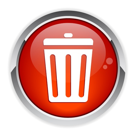 detritus: button garbage can red Illustration