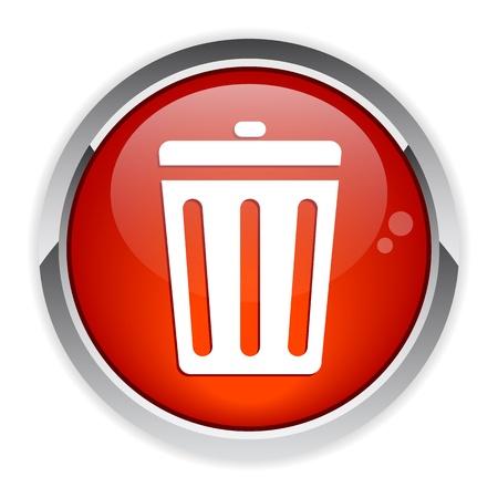 detritus: button garbage can red Illustration