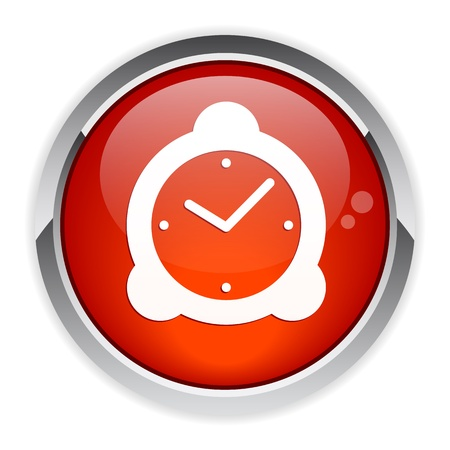 Button hours red icon Stock Vector - 21395348