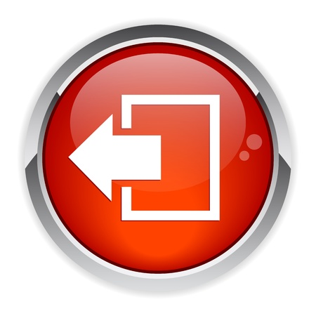output disconnect button Internet icon red Illustration