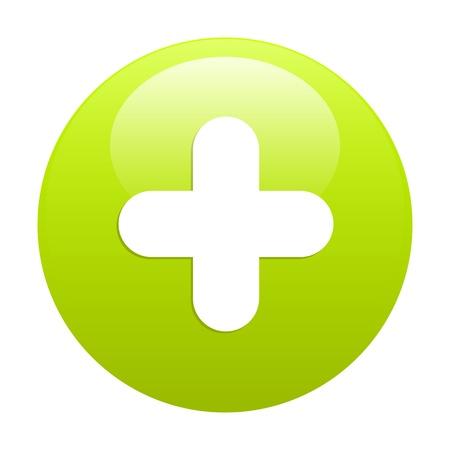 adding: bouton internet plus icon green Illustration