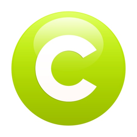 3 dimensions: bouton internet copyright green