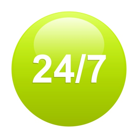 button 24 7 glossy icon green