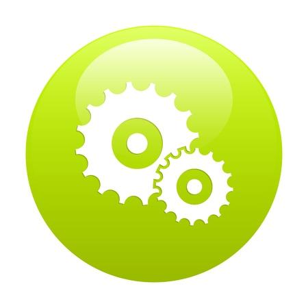 3 dimensions: button settings icon green Illustration