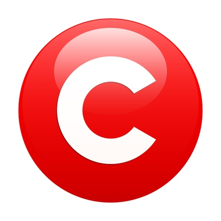 bouton internet copyright icon red Illustration