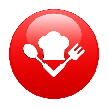 bouton internet cuisine icon red Vector