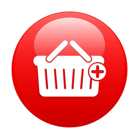 bouton internet panier icon red Stock Vector - 21635017