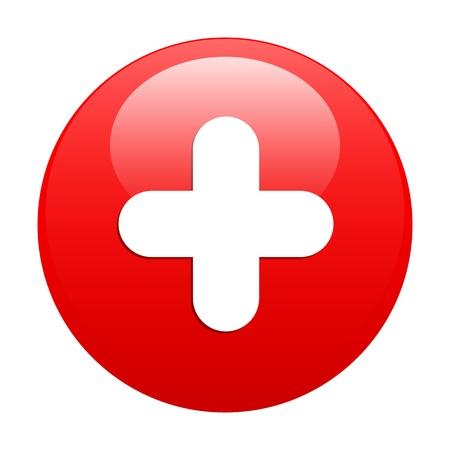 bouton internet plus icon red Illustration