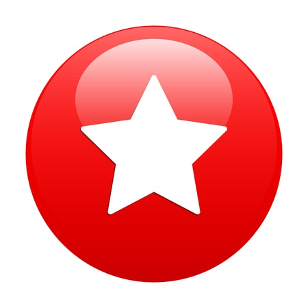 Bouton Web Favori star icon red Stock Vector - 21635092