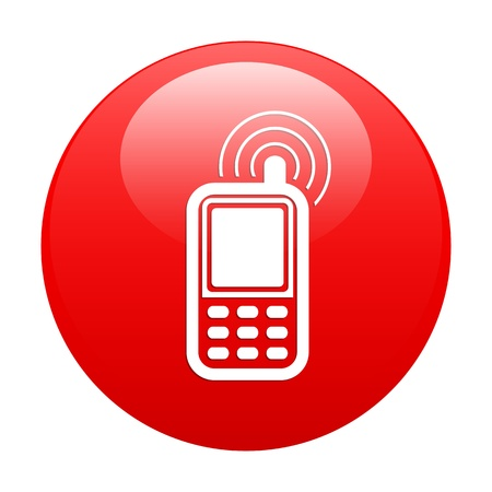 Button cell phone icon red