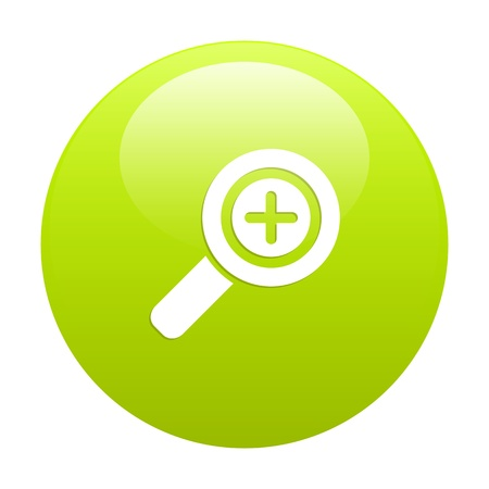 button loupe magnifying glass green Vector
