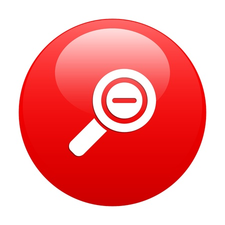 Button loupe magnifying glass icon red Vector