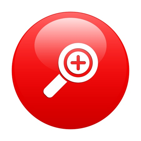 button loupe magnifying glass red Vector