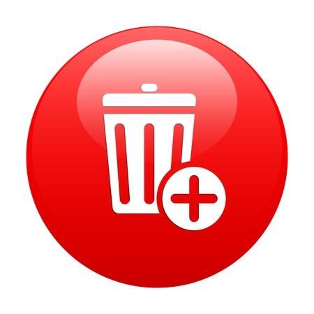 detritus: Button trash icon web red