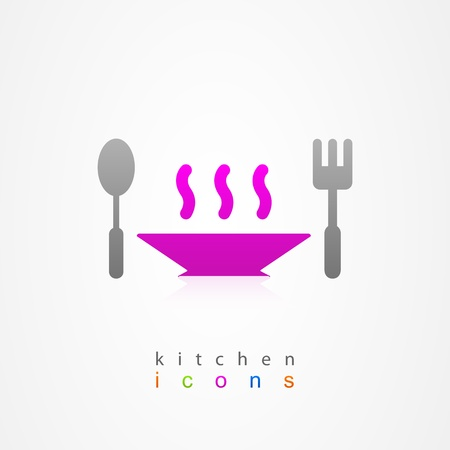 Kitchen dish on white background Vector