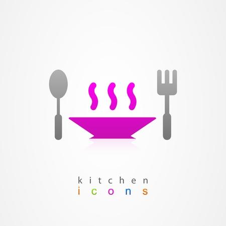 Kitchen dish on white background