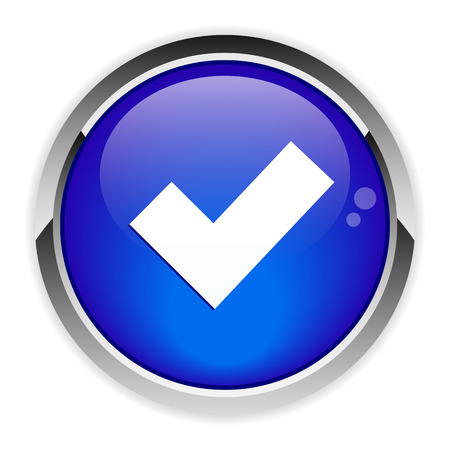 Button accept icon blue Illustration