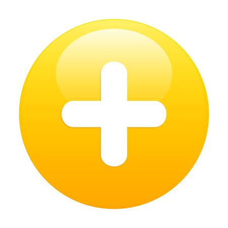 bouton ajouter: Ajouter bouton plus d'orange Illustration