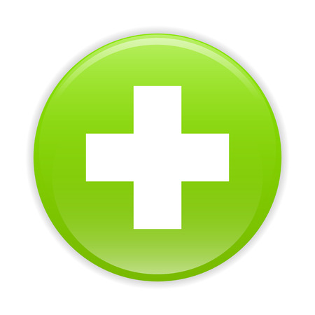 Bouton internet health icon green sign