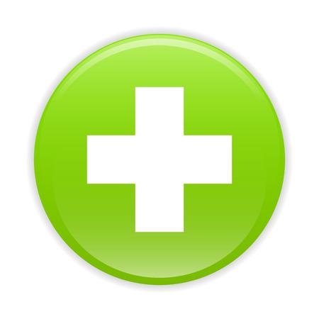 Bouton internet health icon green sign