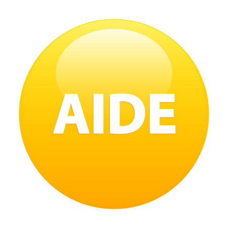 aide: Bouton internet aide icon orange