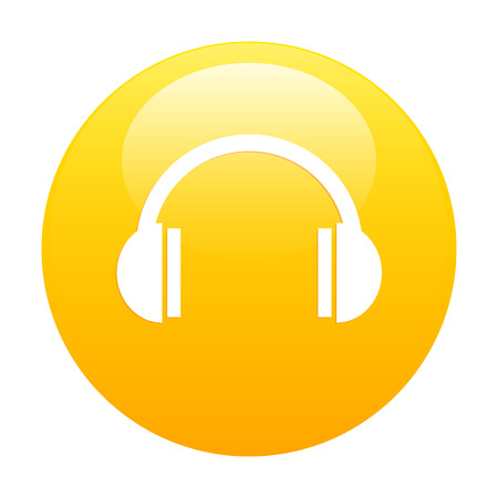 bouton internet earphone icon orange Vector