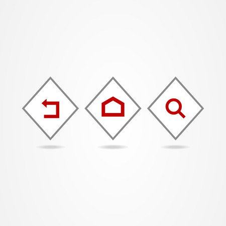 Business icon set button red Illustration