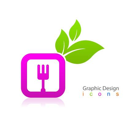 Kitchen fork sign icon leaf