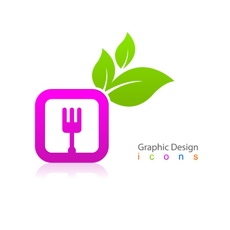 Kitchen fork sign icon leaf